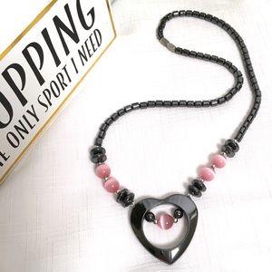 Jewelry - NWOT Hematite & Pink Bead Heart Necklace